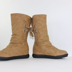 Unknown Shoes - Vegan Leather Boots Laced Back Detail Mid Height